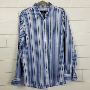 Bugatchi Uomo Men's XL Blue Striped Dress Shirt